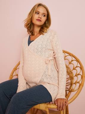 Maternity-Maternity Openwork Crossover Cardigan