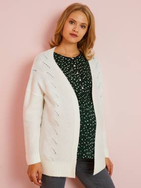 Maternity-Knitwear-Long Cardigan in Openwork Knit for Maternity