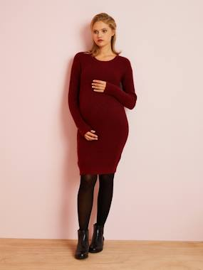 Vertbaudet Collection-Maternity-Dresses-Knitted Maternity Sweater Dress