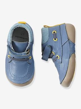 Shoes-Boys Denim & Leather Boots, Designed For Crawling Babies