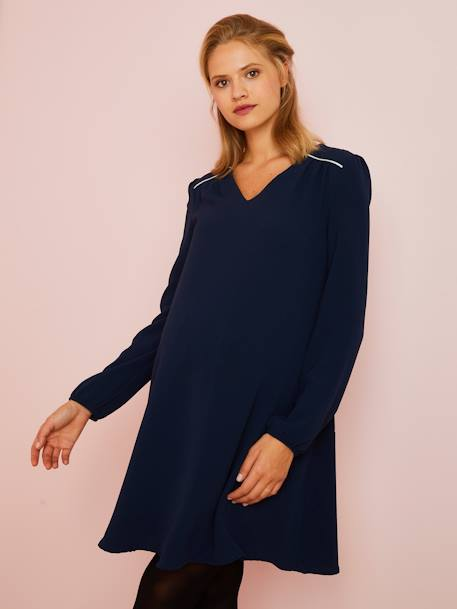 Dress with Silver Trim, for Maternity BLUE DARK SOLID - vertbaudet enfant