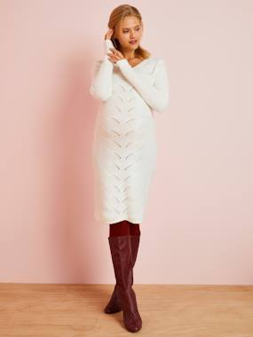 Vertbaudet Collection-Maternity-Dresses-Knitted Maternity Jumper Dress