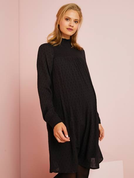 Long-Sleeved Plumetis Maternity Dress BLACK DARK SOLID+BROWN MEDIUM SOLID - vertbaudet enfant