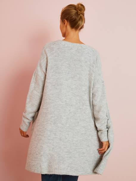 Long Loungewear Cardigan, Maternity Special GREY LIGHT MIXED COLOR - vertbaudet enfant