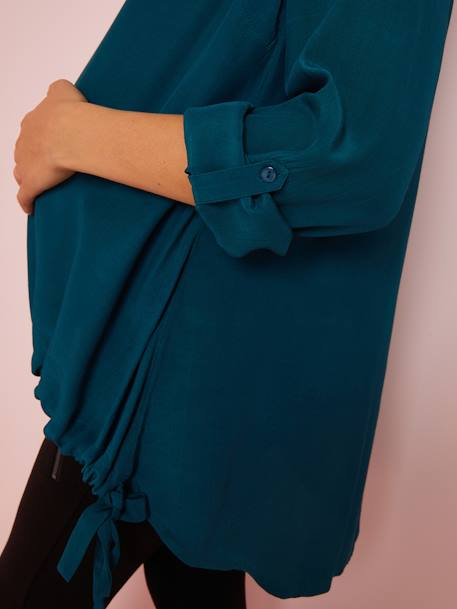 Maternity Blouse with Close-Fitting Waist GREEN MEDIUM SOLID - vertbaudet enfant