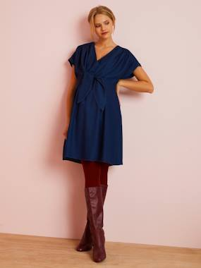 Vertbaudet Collection-Maternity-Dresses-Maternity Dress, 2-in-1 in Lyocell, Denim Look