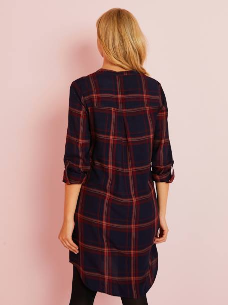 Maternity Shirt Dress BLUE DARK CHECKS - vertbaudet enfant