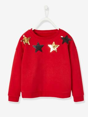 Vertbaudet Collection-Girls-Sweatshirt with Reversible Sequins, for Girls