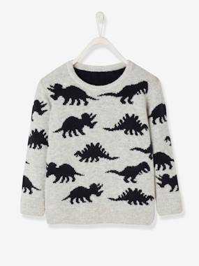 Boys-Cardigans, Jumpers & Sweatshirts-Jumper with Dinosaurs, for Boys