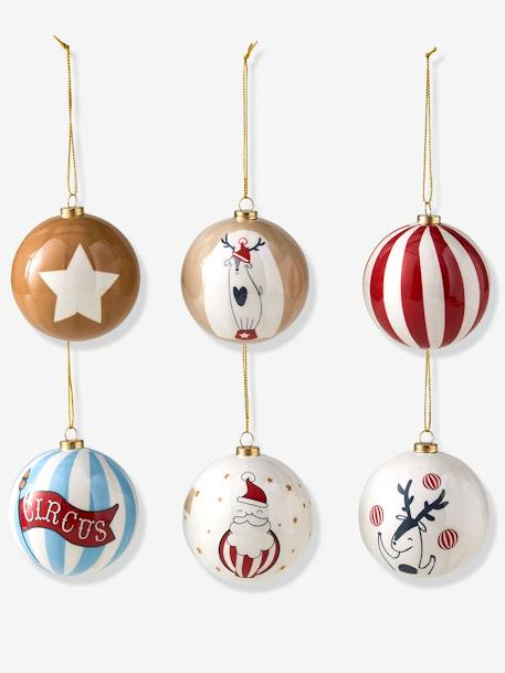 Set of 6 Baubles, Circus RED BRIGHT ALL OVER PRINTED - vertbaudet enfant