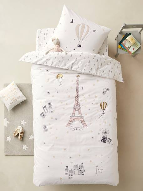 Duvet Cover + Pillowcase Set, PARIS FEERIE WHITE LIGHT SOLID WITH DESIGN - vertbaudet enfant