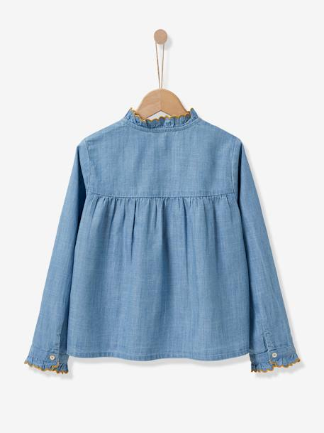Shirt with Ruffles, for Girls, CYRILLUS BLUE LIGHT WASCHED - vertbaudet enfant