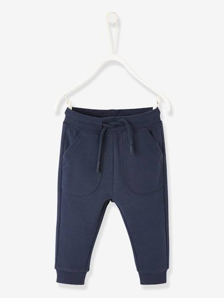 Fleece Trousers for Boys, Joggers-Style BLUE DARK SOLID+GREY LIGHT MIXED COLOR+YELLOW DARK SOLID - vertbaudet enfant