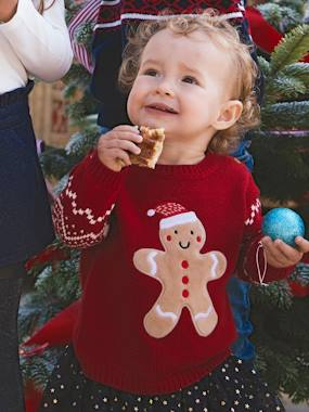 Baby-Jumpers, Cardigans & Sweaters-Christmas Special Jumper for Girls, Gingerbread Man