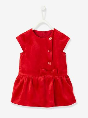 Baby-Dresses & Skirts-Velour Special Occasion Dress, for Baby Girls