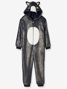 Festive favourite-Cat Onesie in Iridescent Plush Fabric, for Girls