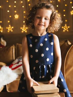Vertbaudet Collection-Girls-Occasion Dress with Iridescent Polka Dots, for Girls