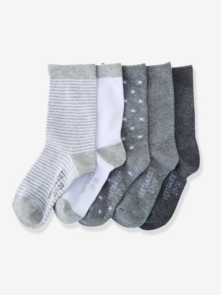 Girls' Pack of 5 Pairs of Socks BLUE LIGHT TWO COLOR/MULTICOL+Grey pack+Light pink striped pack+Navy pack - vertbaudet enfant