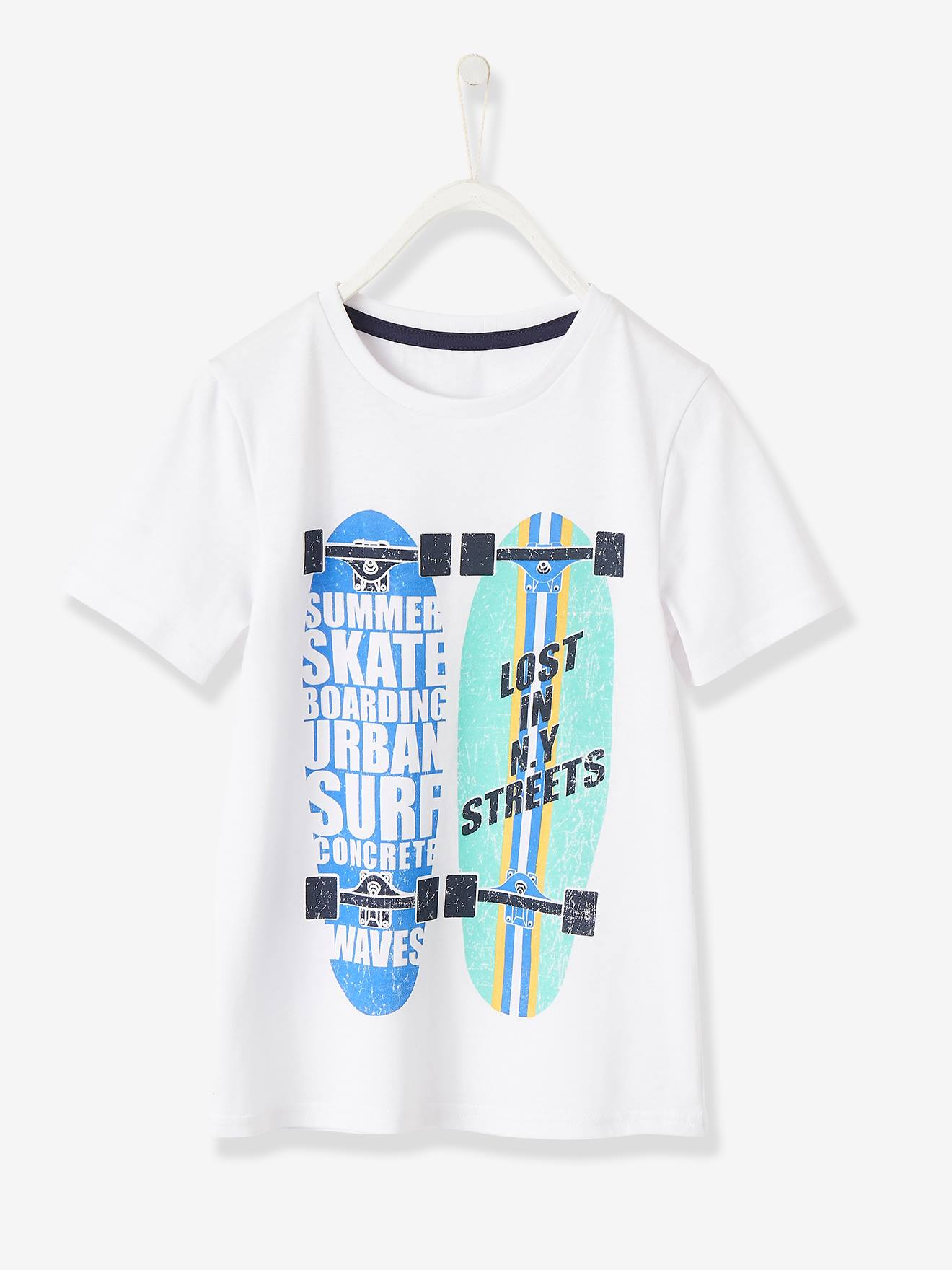 Baby Boys White T Shirt with Surf Board detail