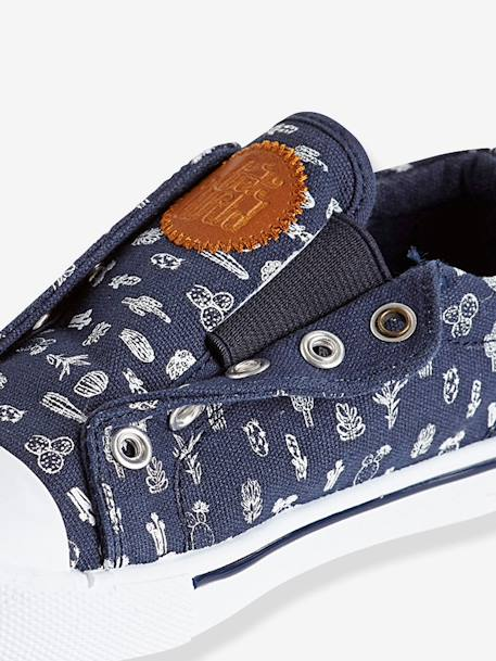 Canvas Trainers Denim blue+GREEN MEDIUM ALL OVER PRINTED+Printed navy - vertbaudet enfant