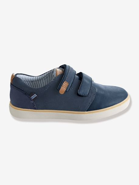 Boys' Leather & Suede Touch 'N' Close Shoes Blue - vertbaudet enfant