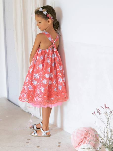 Girls Printed Occasion Dress PINK BRIGHT ALL OVER PRINTED+Printed pink+WHITE LIGHT ALL OVER PRINTED+YELLOW MEDIUM ALL OVER PRINTED - vertbaudet enfant