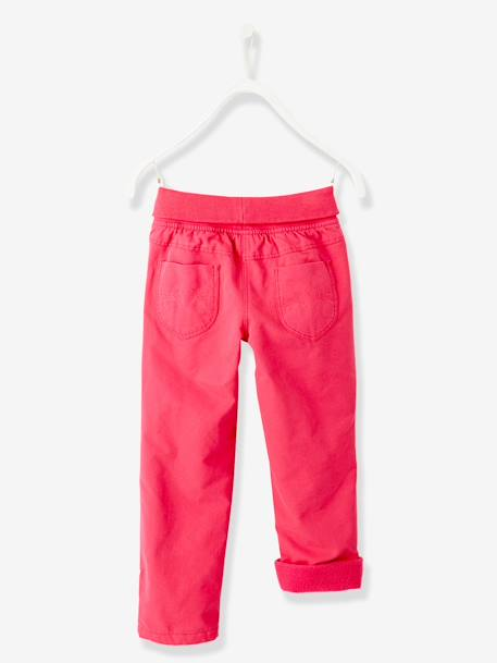 Girls' Fleece-Lined Indestructible Trousers GREY DARK SOLID+PINK BRIGHT SOLID - vertbaudet enfant