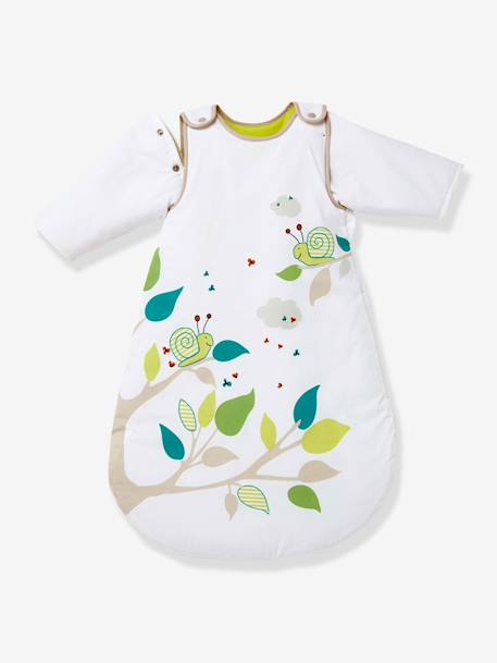 Baby Sleep Bag with Detachable Sleeves , Picnic Theme Printed white - vertbaudet enfant