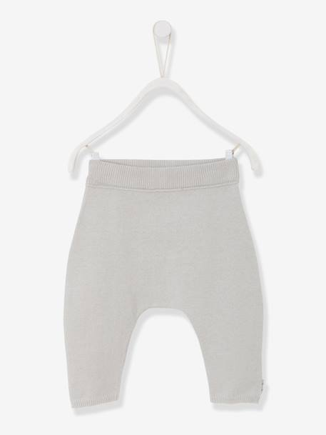 Baby Trousers in Pure Cotton Marl Knit, Organic Collection Pale grey+White - vertbaudet enfant