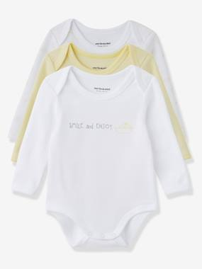 Baby-Bodysuits & Sleepsuits-Baby Pack of 3 Coloured Long-Sleeved Bodysuits, Yacht Motif, Organic Collection