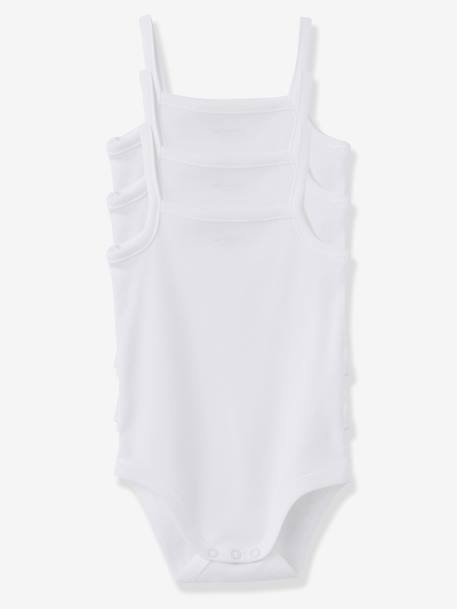 Pack of 3 White Bodysuits with Shoestring Straps White - vertbaudet enfant