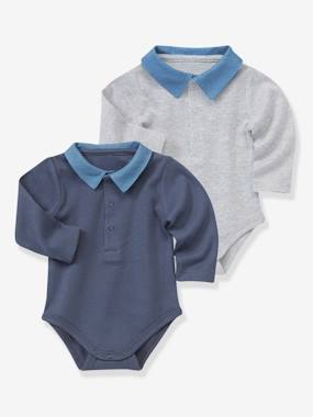 Baby-T-shirts & Roll Neck T-Shirts-Pack of 2 Baby Bodysuits with Polo Collar