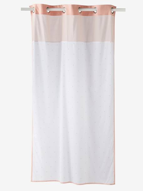 Star Curtain PINK MEDIUM SOLID WITH DESIG+White/greige - vertbaudet enfant