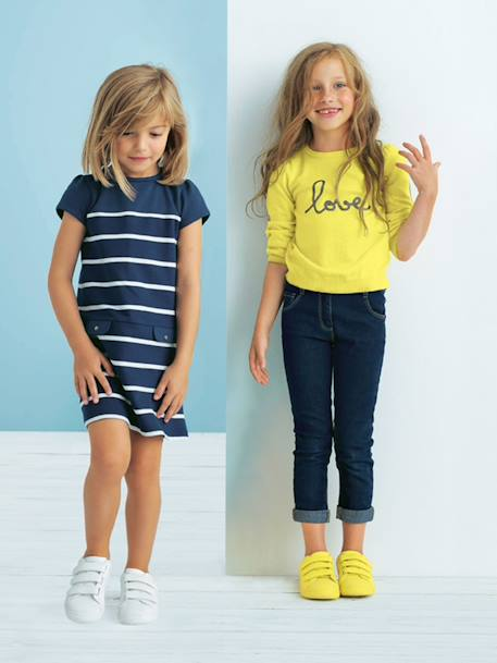 Girls' Slim-Fit Jeans Denim brut - vertbaudet enfant