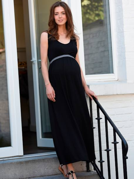 Adaptable Maternity & Nursing Knit Dress Black+BLUE DARK ALL OVER PRINTED - vertbaudet enfant