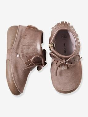 Shoes-Baby Footwear-Slippers & Booties-Girls' Supple Leather Slippers