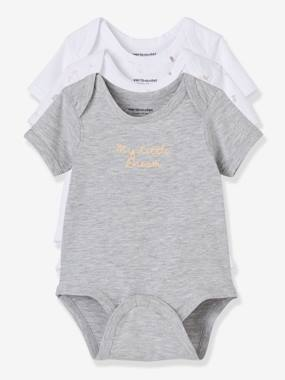 Baby-Bodysuits & Sleepsuits-Baby Pack of 3 Adaptable Bodysuits, Stretch Cotton, Short Sleeves, Fish Motif