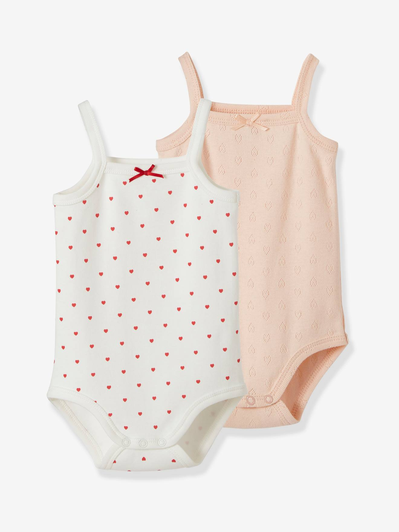 delicate decorative labels.htm pack of 2 bodysuits with thin straps  hearts  for babies pink light 2  pack of 2 bodysuits with thin straps