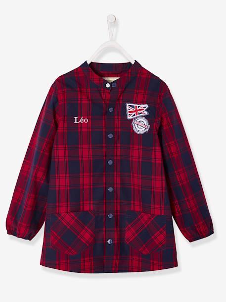 Chequered Smock for Boys RED DARK CHECKS - vertbaudet enfant