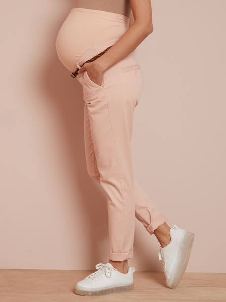 Maternity Chino Trousers, Inside Leg 32 cm BEIGE MEDIUM SOLID WITH DECOR+BLUE DARK SOLID WITH DESIGN+PINK LIGHT SOLID WITH DESIGN - vertbaudet enfant