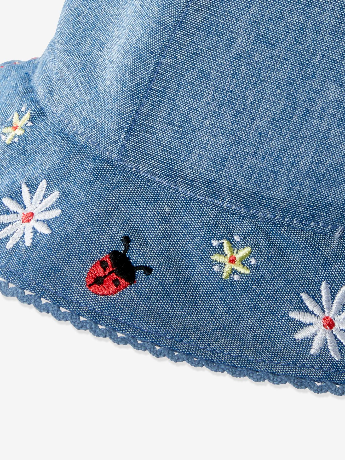 Denim Bucket Hat With Embroidery For Babies Blue Medium Solid With Design Baby