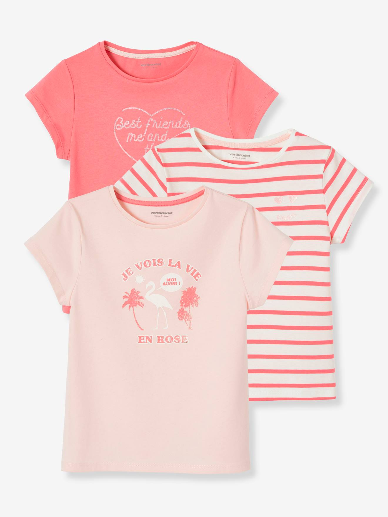 First Steps 2 Baby T-Shirts Plain Pink And Stripes 3-6 Months
