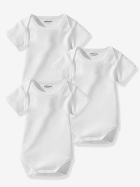 Baby-Bodysuits & Sleepsuits-Baby Pack of 3 Organic Collection Short-Sleeved White Bodysuits
