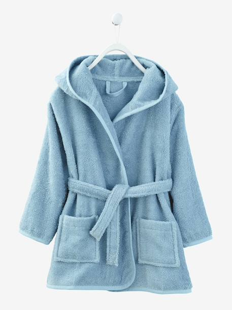 Child's Hooded Bathrobe Denim blue+GREEN LIGHT SOLID+Grey blue+Light violet+Pink+PINK MEDIUM SOLID - vertbaudet enfant