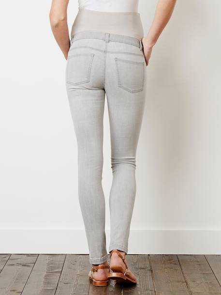 Maternity Slim Strech Jeans - Inside Leg 33' BLACK DARK SOLID+BLUE DARK WASCHED+Denim brut+Double stone+GREY MEDIUM WASCHED+Light grey denim - vertbaudet enfant