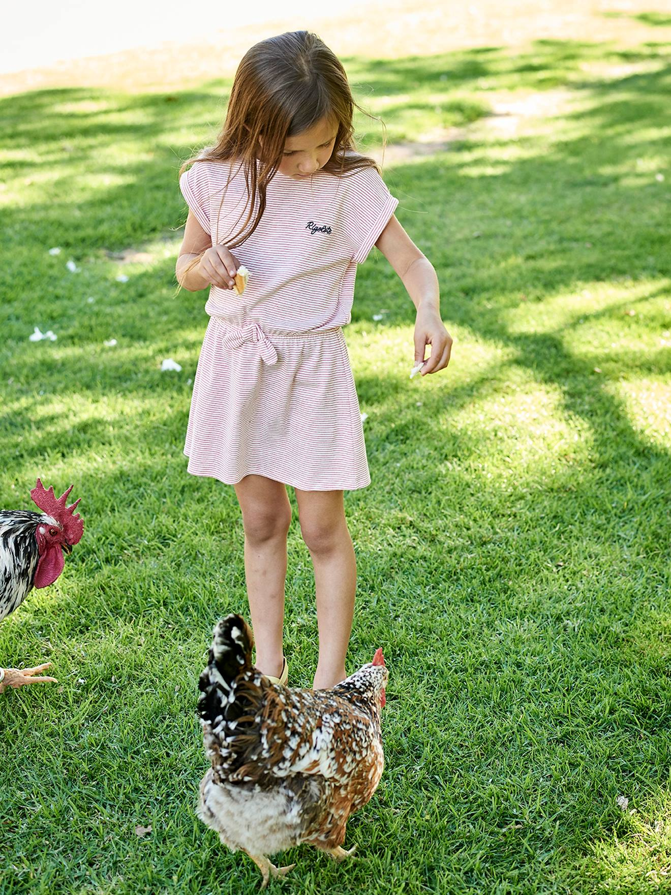 delicate decorative labels.htm striped dress with  rigolote  embroidered for girls pink medium  striped dress with  rigolote