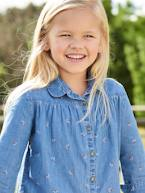 Denim Blouse with Floral Print, for Girls  - vertbaudet enfant