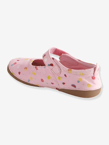 Girls Canvas Mary Jane Slippers Printed pink - vertbaudet enfant