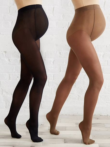 Pack of 2 pairs of opaque Maternity tights BLACK DARK 2 COLOR/MULTICOL+Taupe + black - vertbaudet enfant