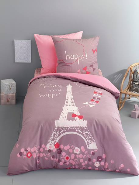 Children's Fitted Sheet, A Night in Paris Theme PINK LIGHT ALL OVER PRINTED - vertbaudet enfant